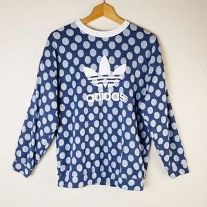 Adidas Trefoil Blue Polka Dot Pullover Sweatshirt